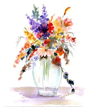 aqua glass vase floral v small
